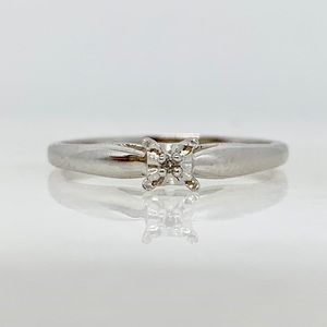 10K White Gold Small Diamond Solitaire Ring